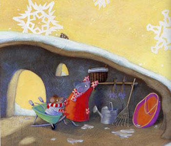 Illustration from Now It Is Winter by Eileen Spinelli and illustrated by Mary Newell DePalma